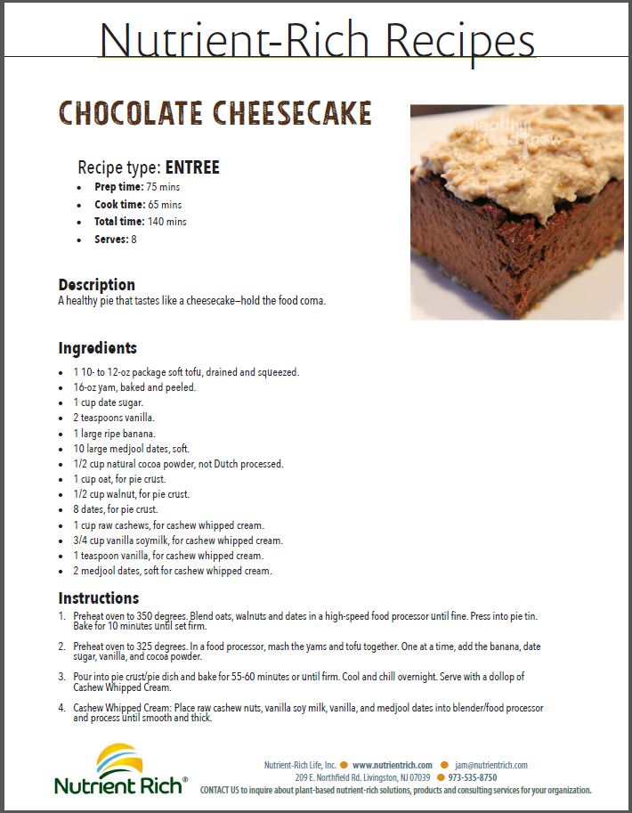 Nutrient Rich Recipes - Chocolate Cheesecake